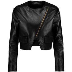 Roland Mouret Luciola cropped leather and crepe jacket ($1,040) ❤ liked on Polyvore featuring outerwear, jackets, giacche, april hammerstein, black, black leather jacket, slim fit leather jacket, crepe jacket, asymmetrical zipper jacket and black jacket