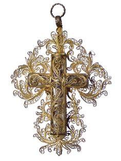 17th century silver reliquary cross