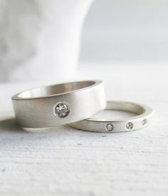 modern wedding band set  Moissanite and diamond by lolide on Etsy, $375.00