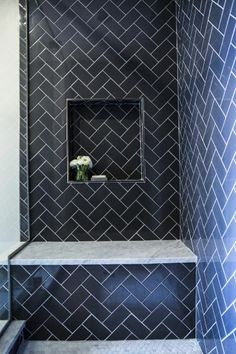 Love this shower layout and herringbone tile method!Contemporary shower features navy herringbone tiles accented with a navy tiled niche over a carrera marble shower bench. Herringbone Subway Tile, Blue Subway Tile, Subway Tile Showers, Marble Showers, Bathroom Showers, Herringbone Fireplace, Herringbone Pattern, Contemporary Shower, Contemporary Bathrooms