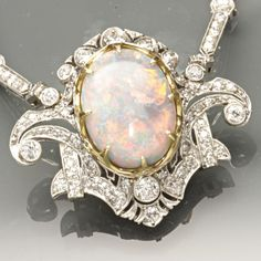 1920's Opal & Diamond Necklace in Platinum found on Ruby Lane