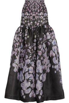 Temperley London Orchidea printed silk-gazar maxi skirt | NET-A-PORTER