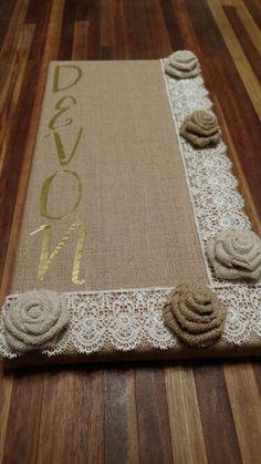 Burlap Canvas earring holder/bulletin board! DIY craft, hot glue Dorm Canvas Art, Burlap Canvas, Bulletin Board, Diy Crafts, Hot, Decor, Decoration, Burlap Fabric, Decorating