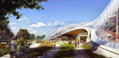 Het complex is ontworpen door BIG en Heatherwick Studio. bron: ANP/Google