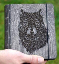 Wolf Wooden notebook Personalised gift  White black blank pages Christmas gift…