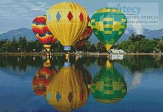 Artecy Cross Stitch. Hot Air Balloons Reflection Cross Stitch Pattern to print online.