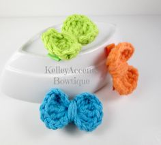 Trio Crochet Bow Hair Clips by KABowtique on Etsy, $6.00