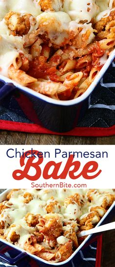 This Chicken Parmesan Bake recipe from southern bite is comfort food for the whole family.