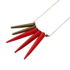 Maquahuitl Spike Necklace in Red