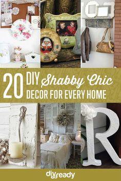 20 DIY Shabby Chic Decor Ideas | Beautiful and Creative Home Decor Projects http://diyready.com/diy-shabby-chic-decor/