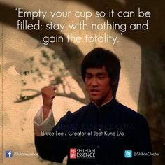 """Bruce Lee """"Clear your mind of any negative thoughts or emotions before combat"""" Empty your cup. Wise Quotes, Quotes To Live By, Motivational Quotes, Inspirational Quotes, Yoga Quotes, Bruce Lee Art, Bruce Lee Quotes, Bruce Lee Workout, Martial Arts Quotes"""