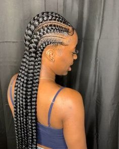 23 Best Long Box Braids Hairstyles and Ideas - Hello my page Feed In Braids Hairstyles, Braids Hairstyles Pictures, Black Girl Braided Hairstyles, Protective Hairstyles, African Hairstyles, Girl Hairstyles, Protective Styles, School Hairstyles, Braids Cornrows