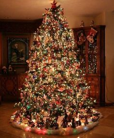 christmas tree with a bazillion lights ornaments