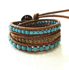 Design your own photo charms compatible with your pandora bracelets. Triple three 3 wraps chan luu inspired leather bracelet bohemian surfer style turquoise beads flower button Buddha and bell charm pendant by ShySu, $44.00