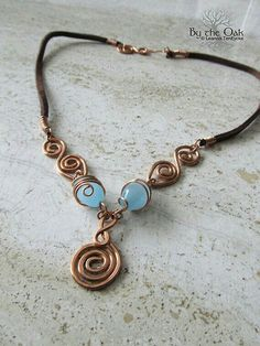 Celtic Necklace Wire Wrapped Copper Spiral Jewelry Blue Glass Beads One of a Kind Copper Jewelry, Leather Jewelry, Pendant Jewelry, Jewelry Art, Beaded Jewelry, Handmade Jewelry, Copper Wire, Copper Bracelet, Copper Glass