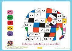 actividad lectoescritura, elmer, aprender vocales, elmer elephant, elmer elephant activities, elmer actividad
