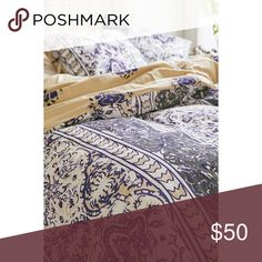 TWIN duvet cover + sham Perfect condition! Used for 1 semester of college. Purple/gray/cream Urban Outfitters Other