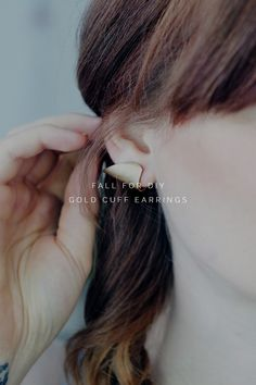 DIY Faux Gold Cuff Earrings