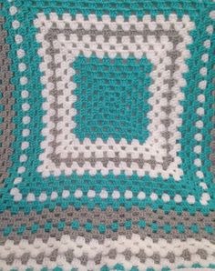 Turquoise gray and white crochet baby blanket. Turquoise baby bedding. Nursery decor. Baby afghan