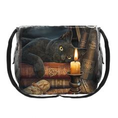 This enchanting messenger bag comes from the magical imagination of the fantastic Lisa Parker Resting on some leather-bound occult books on top of a
