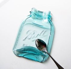 Larger Melted Vintage Mason Jar antique glass blue door MidwestFinds, $32.00