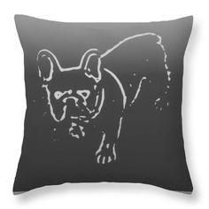 Grey Bulldog Throw Pillow,Sofa Cushion,Unique Pop Art Charcoal Designer,Bedroom Decor,Decorative Pillow,Home Interior,Frenchie Dog Pet Decor by HeatherJoyceMorrill on Etsy