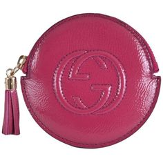 Pre-owned New Gucci 337949 Soho Pink Patent Leather Zip Around Gg Coin... (636.395 COP) ❤ liked on Polyvore featuring bags, wallets, accessories, pink, patent leather zip around wallet, pink wallet, purple wallet, purple bag and pink coin purse