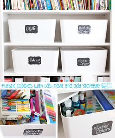 white plastic storage boxes from ikea with Martha stewart chalk labels from staples