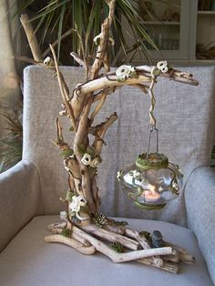 Lampe électrique en bois flotté et porcelaine froide