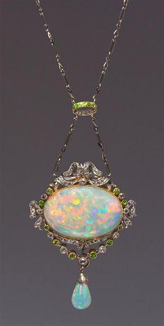 f510224ea1b A Belle Epoque Platinum, Rose Gold, Opal, Diamond and Demantoid Garnet  Necklace Heart