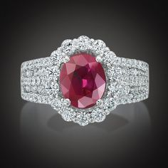 White Gold Ruby & Diamond Halo Ring (30 610 AUD) ❤ liked on Polyvore featuring jewelry, rings, 18 karat gold ring, white gold rings, ruby band ring, red jewelry and red ruby ring