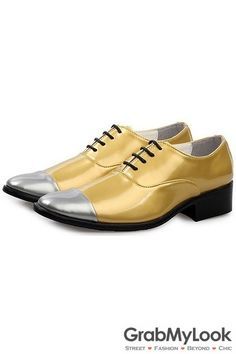 GrabMyLook Gold Patent Leather Silver Tip Lace Up Point Head Mens Oxfords Shoes