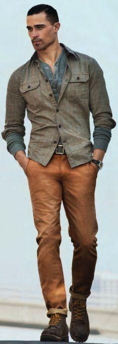 Top -inner shirt--BLUE---Demin---- -outer jacket--GREY KHAKI--- Bottom -pants--PUMPKIN---