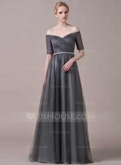 A-Line/Princess Off-the-Shoulder Floor-Length Tulle Charmeuse Evening Dress With Ruffle Beading (017061255)