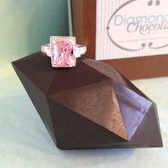 Dark Chocolate Diamond with Surprise Gemstone Ring - Valentine Gift, Anniversary Gift, Birthday Gift, Christmas Present, Push Gift, Diamond