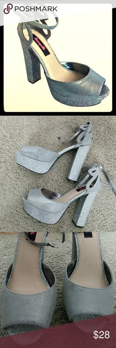 Betseyville Platform Heels size 8 Style- Daisy. Color- Pewter. Subtle sparkle. Worn twice and in great condition! These are high but VERY comfortable. I wore them for a wedding and for a gala. These would be great for prom-- you can dance in these! No flaws except for a tiny wear door on the left front-- cannot be seen when worn. Purchased at Target online. Box included. Betseyville Shoes Heels