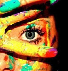 Colorful Photography, open eye, woman, color photography