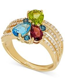 Multi-Gemstone (2 ct. t.w.) and Diamond (1/4 ct. t.w.) Ring in 14k Gold