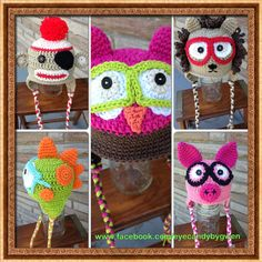 https://www.facebook.com/Eyecandybygwen Amazing Handmade crocheted hats adorned with fun glasses and patches!