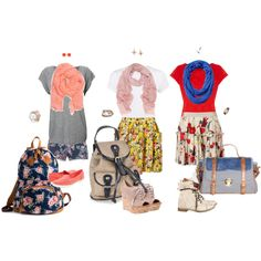Floral prints and basic tops; these are some fun church outfits and who doesn't like backpacks?!