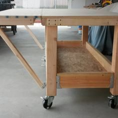 Check out this project on RYOBI Nation - Building mobile work bench that can expand from 5 by 30 inches to 5ft by 4ft, not near done yet. I am going to have storage at the bottom, plus side tables that swing up at the end of the bench to put the tools on so the top stays clear, made it so it can fit thought the side gate so I can use it in front or back of the house.