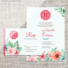 DIY Printable/Editable Chinese Wedding Invitation Card & by ImLeaf