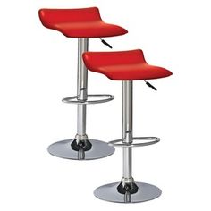 Adjustable Height Faux Leather and Chrome Swivel Stool (Set of 2) by KD Furnishings  sc 1 st  Pinterest & Winsome Wood Air Lift Adjustable Stools Set of 2 | Retro Decor ... islam-shia.org
