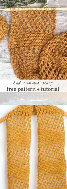 Honeycombs Summer Easy Scarf Knitting Pattern via @MamaInAStitch #summer #knitting #freepattern #scarf #knittingpatternseasy