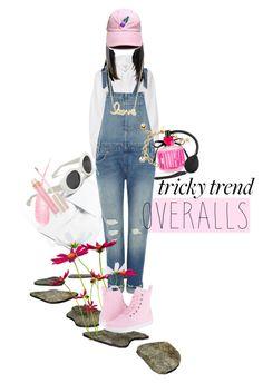 """Tricky Trend: Overalls"" by kari-c ❤ liked on Polyvore featuring Mansur Gavriel, River Island, Levi's, Dr. Martens, Sydney Evan, Kate Spade, Victoria's Secret, Stila, TrickyTrend and overalls"