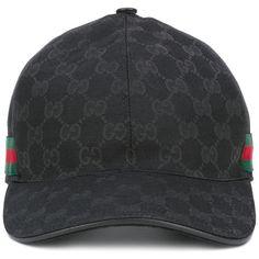 Gucci Original GG web stripe baseball cap ($220) ❤ liked on Polyvore featuring men's fashion, men's accessories, men's hats, black and gucci mens hat