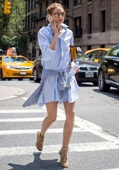olivia palermo shirt dress street style