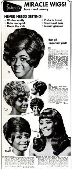 "Fredricks of Hollywood ""Miracle Wigs"" marketed to Women of color. They have a memory? 1970"
