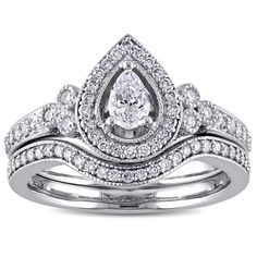 5/8ct TDW Pear and Round-Cut Diamond Halo Bridal Ring Set in 14k Gold by The Miadora Signature Collection