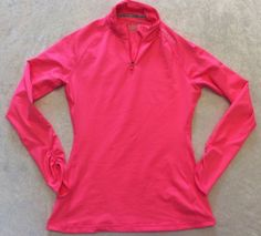 Under Armour Medium Pullover Fitted Cold Gear Pink Running Top Fitness Ruched #UnderArmour #ShirtsTops